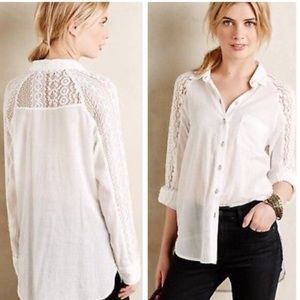 Anthropologie Holding Horses White Lace Blouse